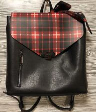 Vintage STEVE MADDEN Black Faux Leather RED PLAID Backpack +Scarf Handbag Tote