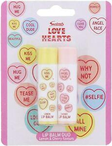 Love Hearts Lip Balm Duo Lemon & Cherry Flavours Childrens Girls Lipbalm Lips