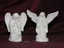 Ceramic Bisque Set of 2 Small Angels Praying Prayer Kneeling U-Paint Unpainted