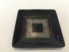 "Rare Vintage Mughal Silver Inlaid Square Small Dish, 3"" x 3"""