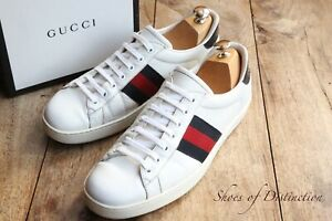 Men's Gucci Ace Blue Red Stripe White Leather Shoes Trainers Sneakers UK 9 US 10