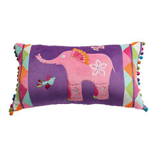 Jiggle and Giggle Peacock Princess Elephant Embroidered Long Filled Cushion