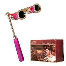 HQRP 3x25 Theaterglas Fernglas rosa mit goldenem Zierleisten, ausziehbarem Griff