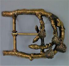Twig and Leaf Design Vintage Belt Buckle, Probably Brass,