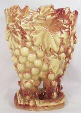 McCoy Grapes Art Pottery Vase Vintage Bunches Flower Figural Green Brown NEAT