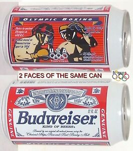 1996 OLYMPICS TEAM USA BOXING BUDWEISER BUD BEER CAN SPORTS GOLD GLOVE+MEDAL