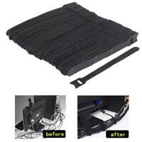 50Pcs Reusable Black Nylon Strap Hook and Loop Cable Cord Ties Tidy Organiser