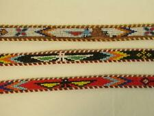 3 VINTAGE BEADED NATIVE AMERICAN STYLE LEATHER BELTS SIZES 36/38