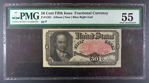 Fr. 1381 Fifth Issue $0.50 Fractional Banknote, PMG AU-55.
