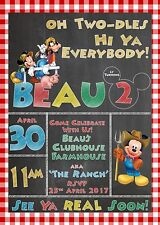 Mickey Mouse Farm Chalkboard Personalised Digital Invitation - Print At Home