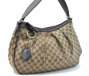 Authentic GUCCI Sukey Shoulder Bag GG Canvas Leather 232955 Brown Beige E1835