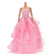 """1 Pcs Pink  Embroidery Handmade Wedding Lace 3 Layers Dress for 11""""  HK"""