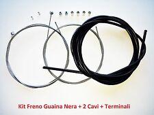 """Kit Freno Guaina Nera + 2 Cavi + Terminali per bici 26""""-28"""" Fixed Scatto Fisso"""