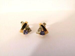 Ladies 9ct Yellow Gold Tanzanite and Diamond Earrings - 1.9g