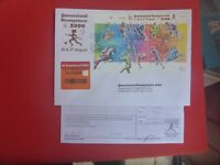 QLD STAMP SHOW 2000 O'P OLYMPIC SHEETLET &  POSTMARK LARGE COVER REGISTERED