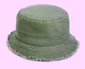 1 x Kid's Garment Washed Bucket Hat, Olive color, fit 53-54cm for Boys or Girls