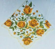 Pretty Yellow Roses Daffodils Bellflowers & Butterflies Scalloped Vintage Hankie