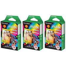 3 Packs 30 Photos Rainbow FujiFilm Fuji Instax Mini Film Polaroid 7S 8 50S SP-1
