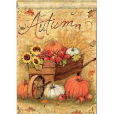 "New listing Autumn Cart Fall Pumpkins & Sunflowers Harvest 28"" x 40"" Outdoor House Flag"