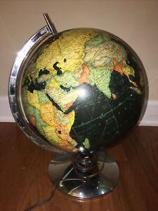 "Vintage Rand Mcnally 1957-1961? 12"" World Globe Black Water Chrome Steel Stand"