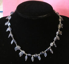 Sterling silver Amethyst Bead choker/Necklace 15.5""
