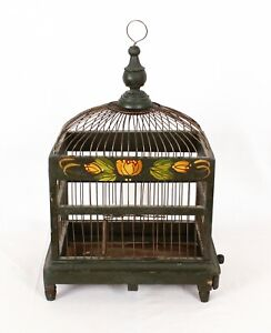 Vintage Wood and Wire Hand Painted Bird Cage