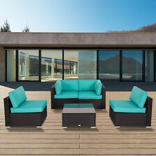 5Pc Outdoor Patio Furniture Wicker Rattan Sofa Sectional Cushioned Seat Yard