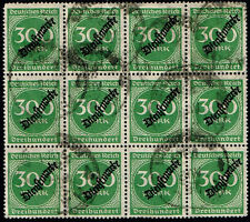 GERMANY 1923 D. REICH DIENST OFFICIAL USED STAMP MI # 79 INFLATION BLOCK OF 12