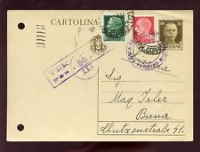 Italie 1941 Papeterie de la Suisse Uprated + censure