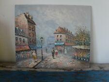 Paris street scene oil painting by artist Caroline C Burnett (1877-1950)