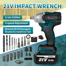 520nm 12 Cordless Electric Impact Wrench Gun Brushless Drill With Li Ion Battery