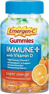 Emergen-C  Immune Plus Vitamin C, D3 & Zinc Gummies - Super Orange - 45 Ct