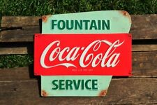 Coca-Cola Fountain Service Embossed Tin Metal Sign - Vintage - Retro - Coke