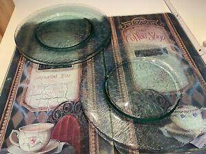 Platzteller glas Grün-transparent, 6 Stk, 32 cm Durchmesser
