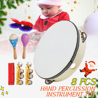 8 Pieces Hand Wooden Percussion Musical Instrument Rhythm Band Value Set Gift