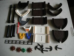 LEGO BULK LOT BOAT BOWS MASTS ANCHORS WHEELS DARK BROWN WHITE PIRATES