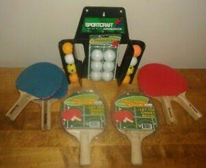 4 Sportcraft Ping Pong Paddles 2 Table Tennis Rackets 14 Balls & Organizer