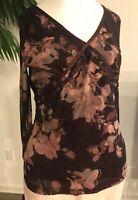 AXCESS Woman's Dress Blouse/Shirt Size Medium Burgundy Floral