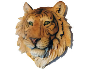 LARGE 3D RAJAH TIGER CAT HEAD BUST ANIMAL WALL HANGING PLAQUE SCULPTURE
