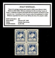 1940 - WALT WHITMAN -  Block of Four Vintage U.S. Postage Stamps