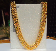"""Big Miami Cuban Link 24"""" Necklace Thick about 25mil Gold Finish Thick Chain 11mm"""