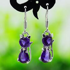 Women Charms Gift 925 Silver Crystal Amethyst Cat Dangle Hook Earrings