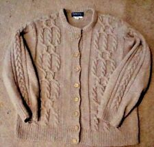 BURBERRY, MADE IN ENGLAND, LADIES SZ M, WOOL CABLE FISHERMAN CARDIGAN SWEATER