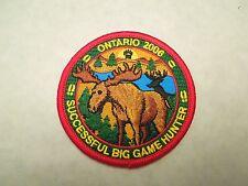 Ontario 2006 Successful Big Game Hunter Iron On Patch - Moose Deer Image