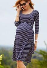 Tiffany Rose Maternity Naomi Navy Stripe Nursing Pregnancy Dress Size 3 12/14