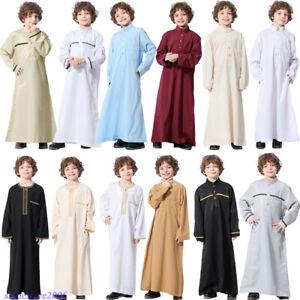 Saudi Arab Boys Muslim Kaftan Dress Thobe Islamic Jubba Thoub Jubbah Kandora Eid