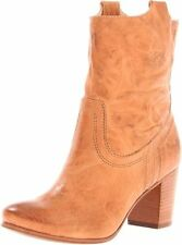 Frye Boots Carson Mid Heel Tab Leather Short Ankle Boots Camel 9M