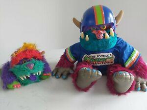 Vintage Amtoy My Pet Football Monster Large Plush Toy & Rark 1986 *RARE* bundle