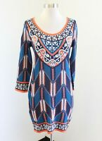 Flying Tomato Blue Orange Geometric Fitted Sweater Dress Size M Knit Boho
