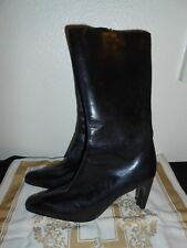 """Valerie Stevens Womens Leather Boots Size 7 M """"Bridle"""" Black High Heels Mid Calf"""